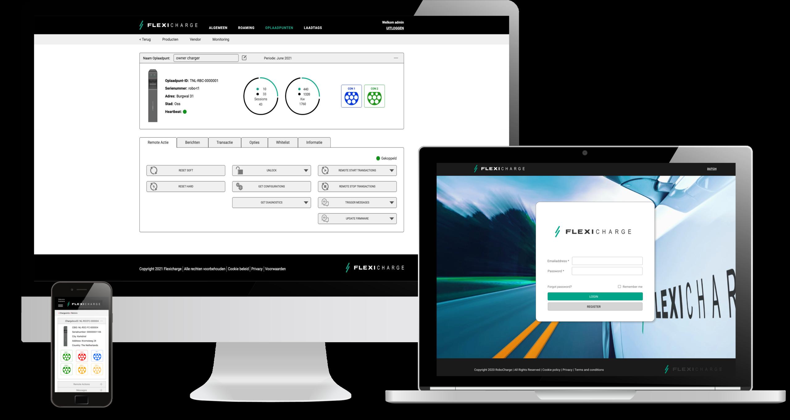 Flexicharge oplaadpunten beheer platform